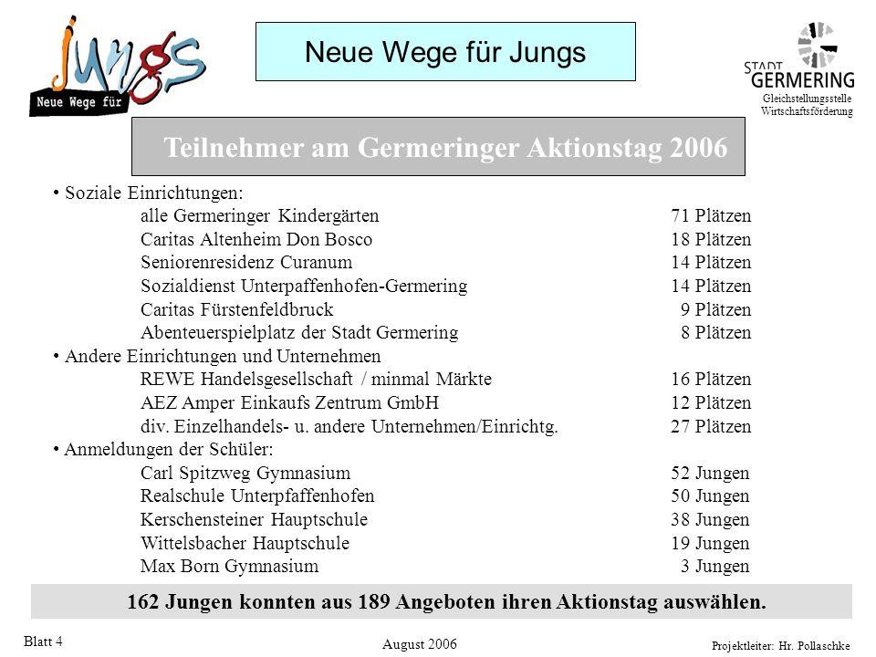 Neue Wege für Jungs Projektleiter: Hr. Pollaschke Blatt 4 Teilnehmer am Germeringer Aktionstag 2006 Soziale Einrichtungen: alle Germeringer Kindergärt