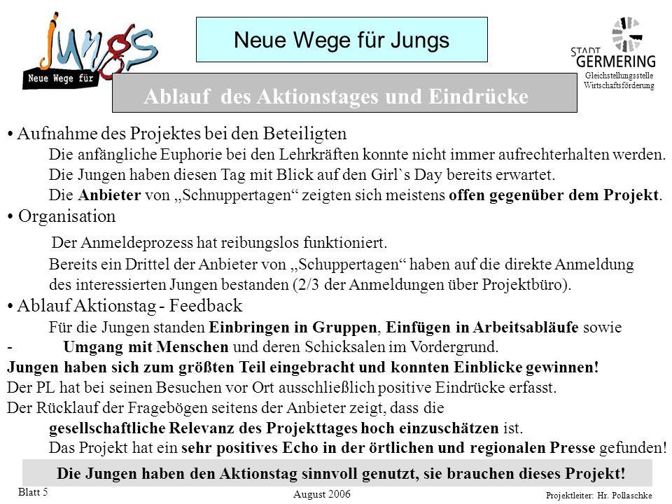 Neue Wege für Jungs Projektleiter: Hr. Pollaschke Blatt 5 Ablauf des Aktionstages und Eindrücke Aufnahme des Projektes bei den Beteiligten Die anfängl