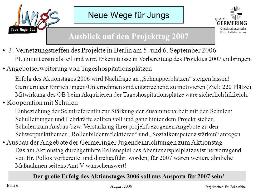 Neue Wege für Jungs Projektleiter: Hr. Pollaschke Blatt 6 Ausblick auf den Projekttag 2007 3. Vernetzungstreffen des Projekte in Berlin am 5. und 6. S