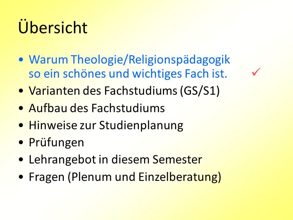 Übersicht Warum Theologie/Religionspädagogik so ein schönes und wichtiges Fach ist.