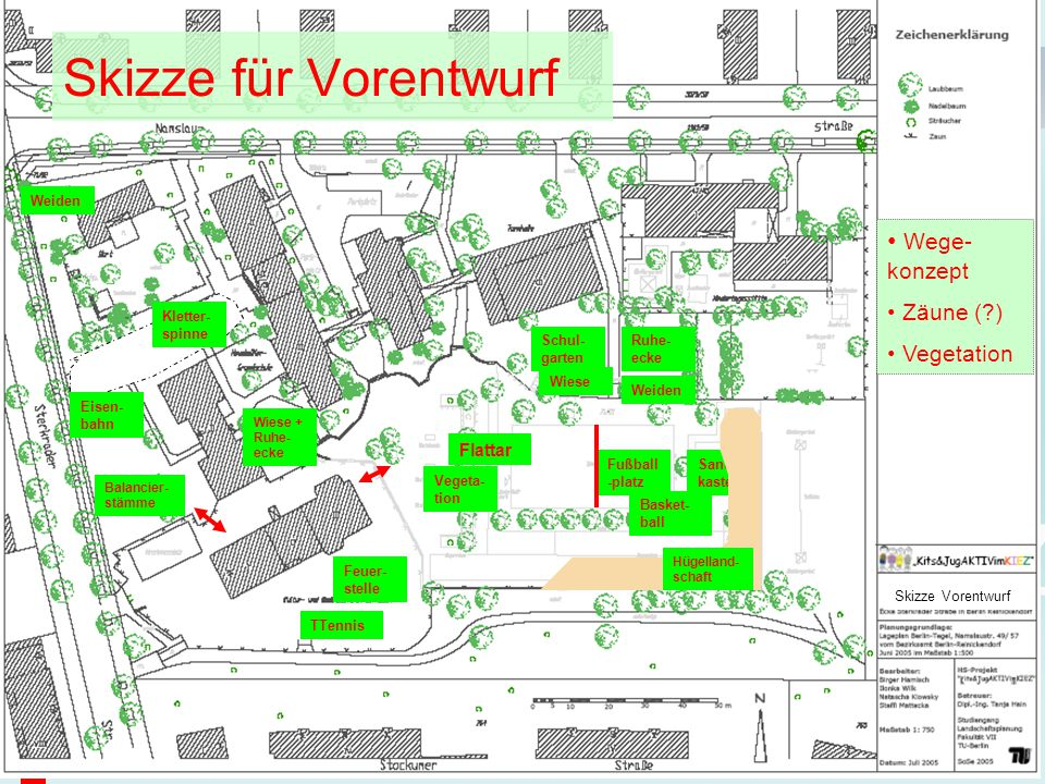 Kits&JugAKTIVimKIEZ Skizze Vorentwurf Skizze für Vorentwurf Fußball -platz Basket- ball Sand- kasten Weiden Wiese Ruhe- ecke Balancier- stämme Wiese +