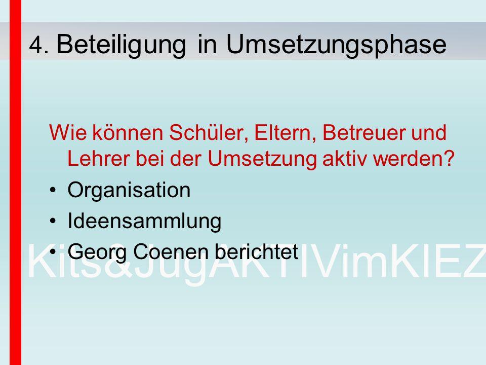 Kits&JugAKTIVimKIEZ Wie können Schüler, Eltern, Betreuer und Lehrer bei der Umsetzung aktiv werden? Organisation Ideensammlung Georg Coenen berichtet