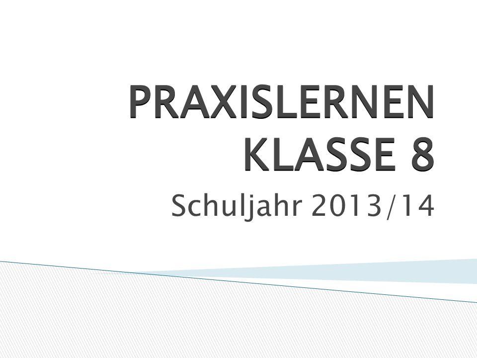 PRAXISLERNEN KLASSE 8 Schuljahr 2013/14