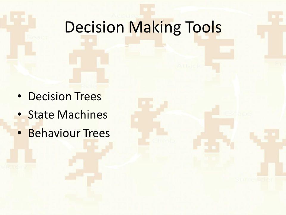 Decision trees Eine Art, wie ein Entscheidungsalgorithmus dargestellt werden kann Einfach implementierbar und verständlich Entscheidungen basieren auf integers, floating point numbers, Booleans oder Spieldaten