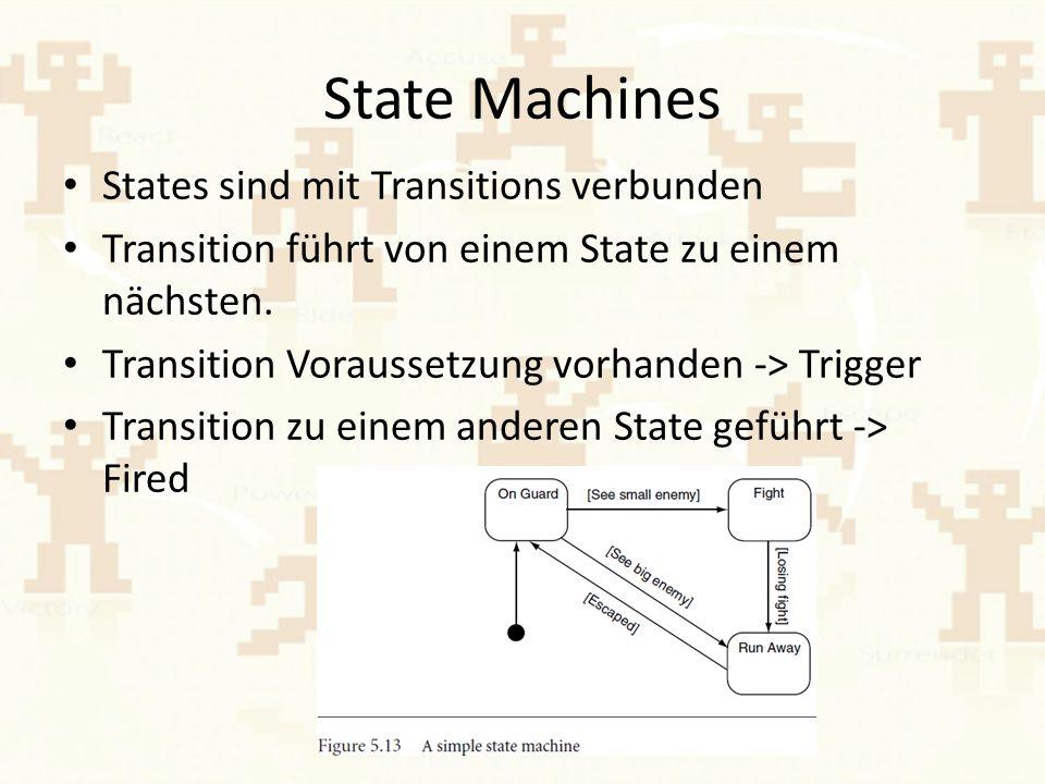 State Machines States sind mit Transitions verbunden Transition führt von einem State zu einem nächsten.