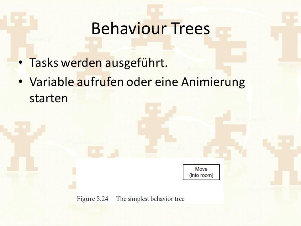 Behaviour Trees Tasks werden ausgeführt. Variable aufrufen oder eine Animierung starten