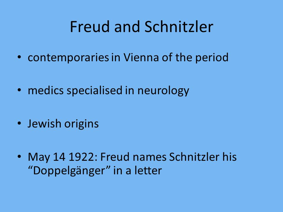 Freud and Schnitzler contemporaries in Vienna of the period medics specialised in neurology Jewish origins May 14 1922: Freud names Schnitzler his Doppelgänger in a letter