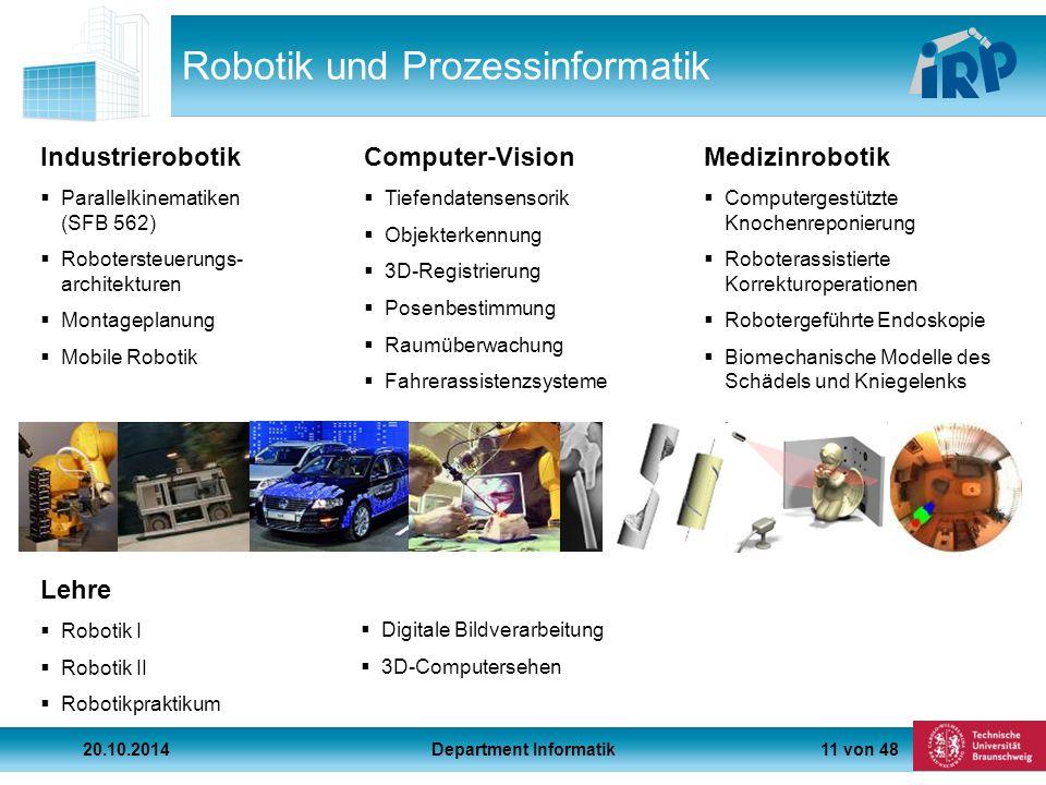 11 von 48 Lehre Robotik und Prozessinformatik  Parallelkinematiken (SFB 562)  Robotersteuerungs- architekturen  Montageplanung  Mobile Robotik  Tiefendatensensorik  Objekterkennung  3D-Registrierung  Posenbestimmung  Raumüberwachung  Fahrerassistenzsysteme  Computergestützte Knochenreponierung  Roboterassistierte Korrekturoperationen  Robotergeführte Endoskopie  Biomechanische Modelle des Schädels und Kniegelenks IndustrierobotikComputer-VisionMedizinrobotik  Robotik I  Robotik II  Robotikpraktikum  Digitale Bildverarbeitung  3D-Computersehen 20.10.2014Department Informatik