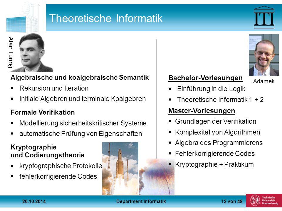 12 von 48 Alan Turing Theoretische Informatik Algebraische und koalgebraische Semantik  Rekursion und Iteration  Initiale Algebren und terminale Koalgebren Formale Verifikation  Modellierung sicherheitskritischer Systeme  automatische Prüfung von Eigenschaften Kryptographie und Codierungstheorie  kryptographische Protokolle  fehlerkorrigierende Codes Adámek Bachelor-Vorlesungen  Einführung in die Logik  Theoretische Informatik 1 + 2 Master-Vorlesungen  Grundlagen der Verifikation  Komplexität von Algorithmen  Algebra des Programmierens  Fehlerkorrigierende Codes  Kryptographie + Praktikum 20.10.2014Department Informatik