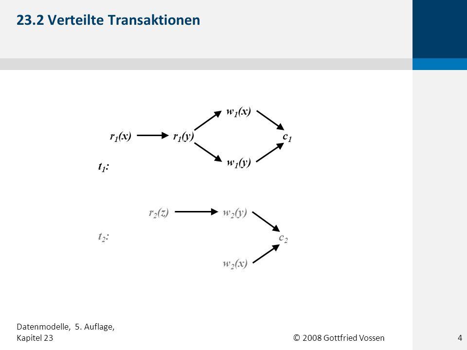 © 2008 Gottfried Vossen s3:s3: c1c1 r 1 (x)r 1 (y) w 2 (x) w 1 (y) w 1 (x) r 2 (z) c2c2 w 2 (y) s2:s2: c1c1 r 1 (x)r 1 (y) w 2 (x) w 1 (y)w 1 (x) r 2 (z) c2c2 w 2 (y) s1:s1: c1c1 r 1 (x)r 1 (y) w 2 (x) w 1 (y) w 1 (x) r 2 (z) c2c2 w 2 (y) 23.3 Beispiele verteilter Schedules für die Transaktionen aus Abbildung 23.2 5 Datenmodelle, 5.