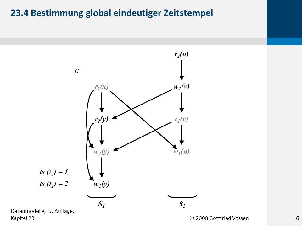 © 2008 Gottfried Vossen r 2 (u) w 2 (v) r 1 (v) w 1 (u) ts (t 1 ) = 1 ts (t 2 ) = 2 r 1 (x) r 2 (y) w 1 (y) w 2 (y) S1S1 S2S2 s: 23.4 Bestimmung global eindeutiger Zeitstempel 6 Datenmodelle, 5.