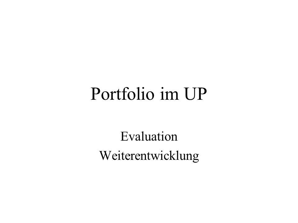 Portfolio im UP Evaluation Weiterentwicklung