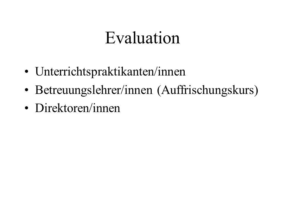 Evaluation Unterrichtspraktikanten/innen Betreuungslehrer/innen (Auffrischungskurs) Direktoren/innen