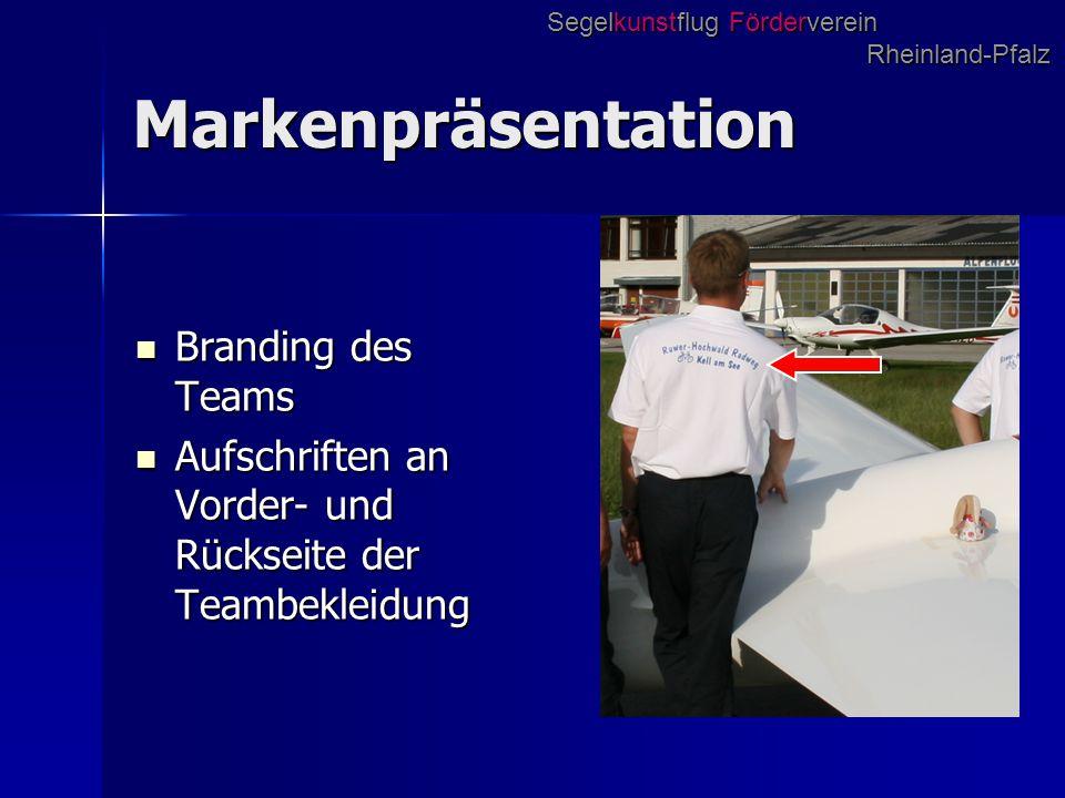 Markenpräsentation Branding des Teams Branding des Teams Aufschriften an Vorder- und Rückseite der Teambekleidung Aufschriften an Vorder- und Rückseit