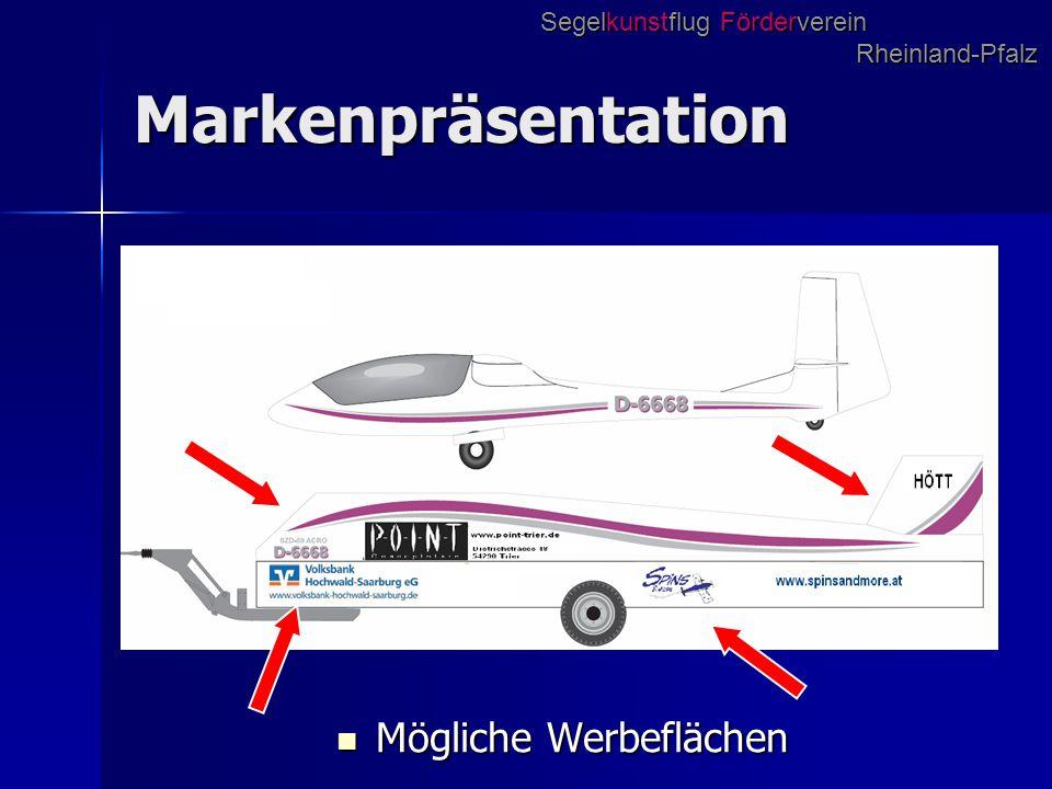 Markenpräsentation Mögliche Werbeflächen Mögliche Werbeflächen Segelkunstflug Förderverein Rheinland-Pfalz
