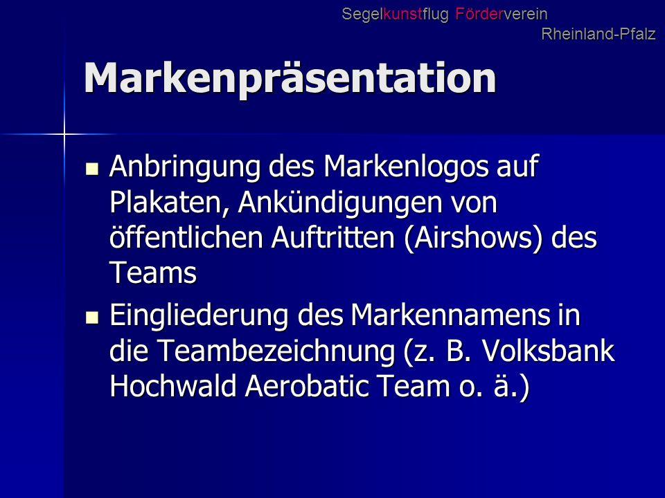 Markenpräsentation Anbringung des Markenlogos auf Plakaten, Ankündigungen von öffentlichen Auftritten (Airshows) des Teams Anbringung des Markenlogos