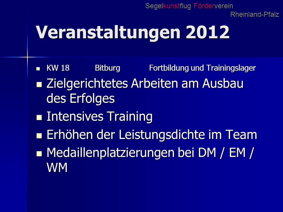 Veranstaltungen 2012 KW 18 Bitburg Fortbildung und Trainingslager KW 18 Bitburg Fortbildung und Trainingslager Zielgerichtetes Arbeiten am Ausbau des