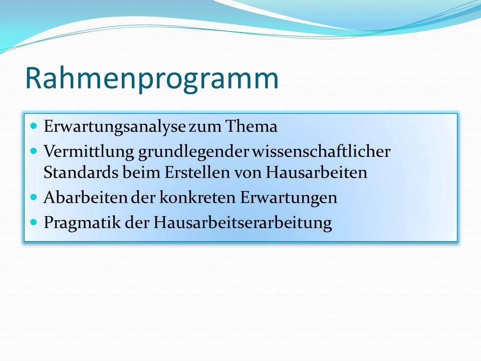 Rahmenprogramm Erwartungsanalyse zum Thema Vermittlung grundlegender wissenschaftlicher Standards beim Erstellen von Hausarbeiten Abarbeiten der konkr