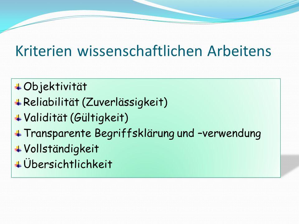 Kriterien wissenschaftlichen Arbeitens Objektivität Reliabilität (Zuverlässigkeit) Validität (Gültigkeit) Transparente Begriffsklärung und –verwendung