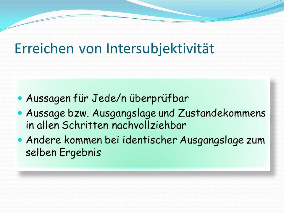Erreichen von Intersubjektivität Aussagen für Jede/n überprüfbar Aussage bzw. Ausgangslage und Zustandekommens in allen Schritten nachvollziehbar Ande