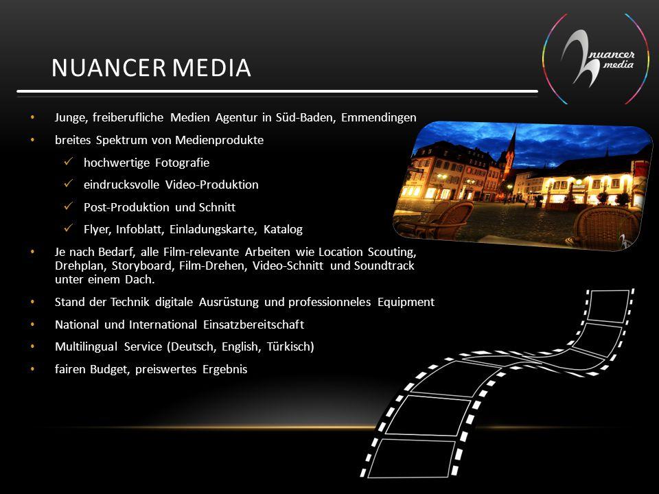 NUANCER MEDIA Junge, freiberufliche Medien Agentur in Süd-Baden, Emmendingen breites Spektrum von Medienprodukte hochwertige Fotografie eindrucksvolle