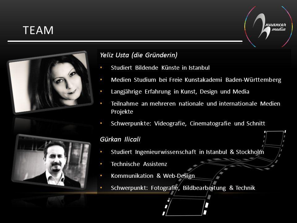 TEAM Yeliz Usta (die Gründerin) Studiert Bildende Künste in Istanbul Medien Studium bei Freie Kunstakademi Baden-Württemberg Langjährige Erfahrung in