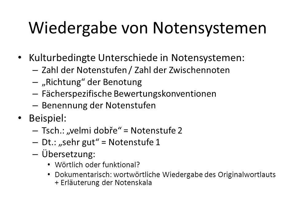 Wiedergabe von Institutionen Auszug aus: Allgemeine Leitlinie für die Anfertigung von Urkundenübersetzungen in Bayern Stand 06/2012