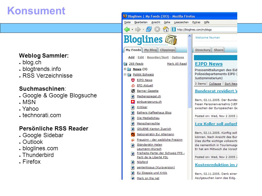 Weblog Sammler: ● blog.ch ● blogtrends.info ● RSS Verzeichnisse Suchmaschinen: ● Google & Google Blogsuche ● MSN ● Yahoo ● technorati.com Persönliche RSS Reader ● Google Sidebar ● Outlook ● bloglines.com ● Thunderbird ● Firefox Konsument
