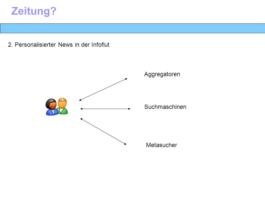 2. Personalisierter News in der Infoflut Zeitung Suchmaschinen Aggregatoren Metasucher