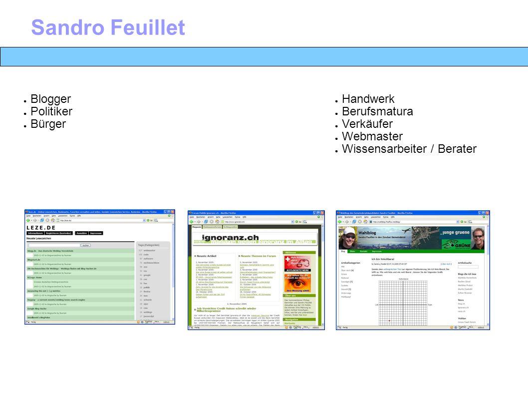 Sandro Feuillet ● Handwerk ● Berufsmatura ● Verkäufer ● Webmaster ● Wissensarbeiter / Berater ● Blogger ● Politiker ● Bürger