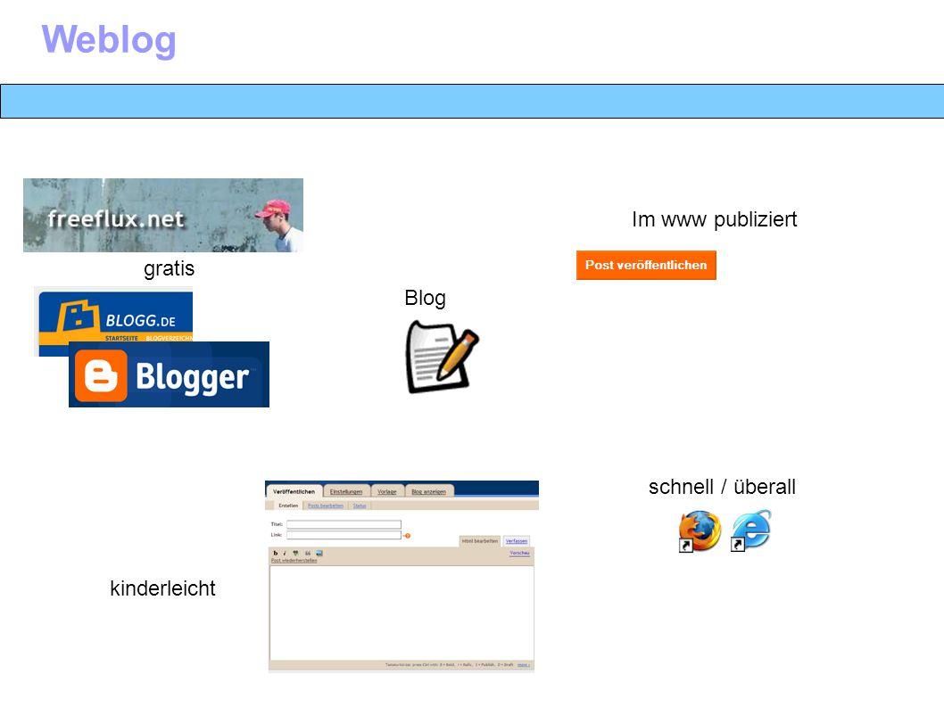 W Im www publiziert gratis kinderleicht schnell / überall Weblog Blog