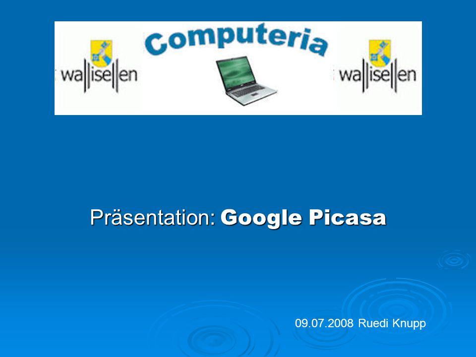 """Google Picasa Bilder als Diashow oder mit Karte oder Satellit zeigen, Texte zu Bildern erstellen, Bilder können auch mittels Google Earth gezeigt werden (siehe Demo) Einladung direkt aus Picasa an Freunde schicken, durch anklicken von """"Album-Link senden 4."""