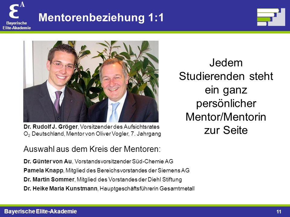 Bayerische Elite-Akademie 11 Mentorenbeziehung 1:1 Dr. Martin Sommer, Mitglied des Vorstandes der Diehl Stiftung Dr. Günter von Au, Vorstandsvorsitzen