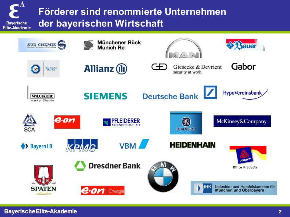 Bayerische Elite-Akademie 2 Förderer sind renommierte Unternehmen der bayerischen Wirtschaft