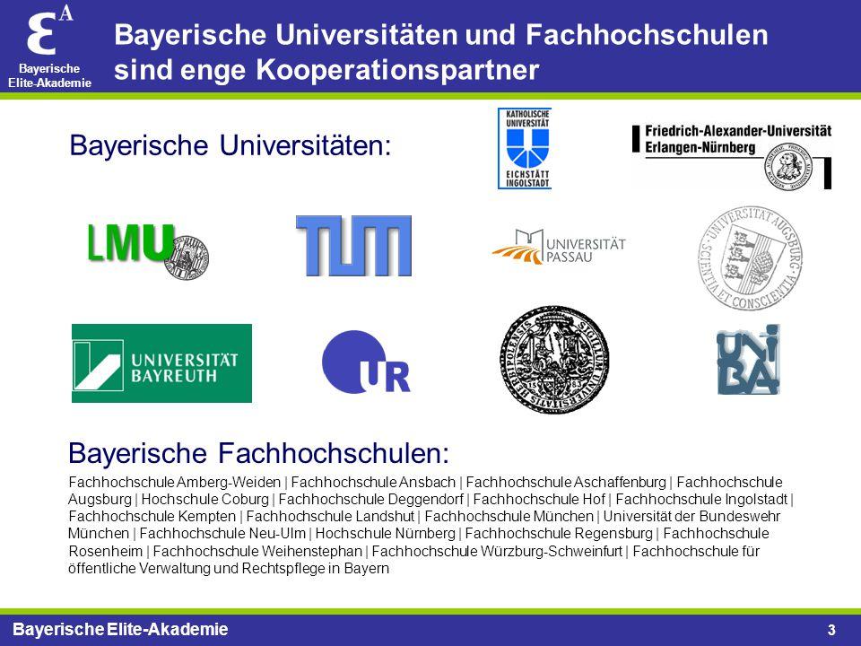 Bayerische Elite-Akademie 3 Bayerische Universitäten und Fachhochschulen sind enge Kooperationspartner Bayerische Fachhochschulen: Fachhochschule Ambe