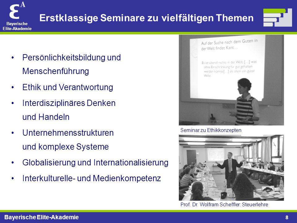 Bayerische Elite-Akademie 8 Erstklassige Seminare zu vielfältigen Themen Persönlichkeitsbildung und Menschenführung Ethik und Verantwortung Interdiszi