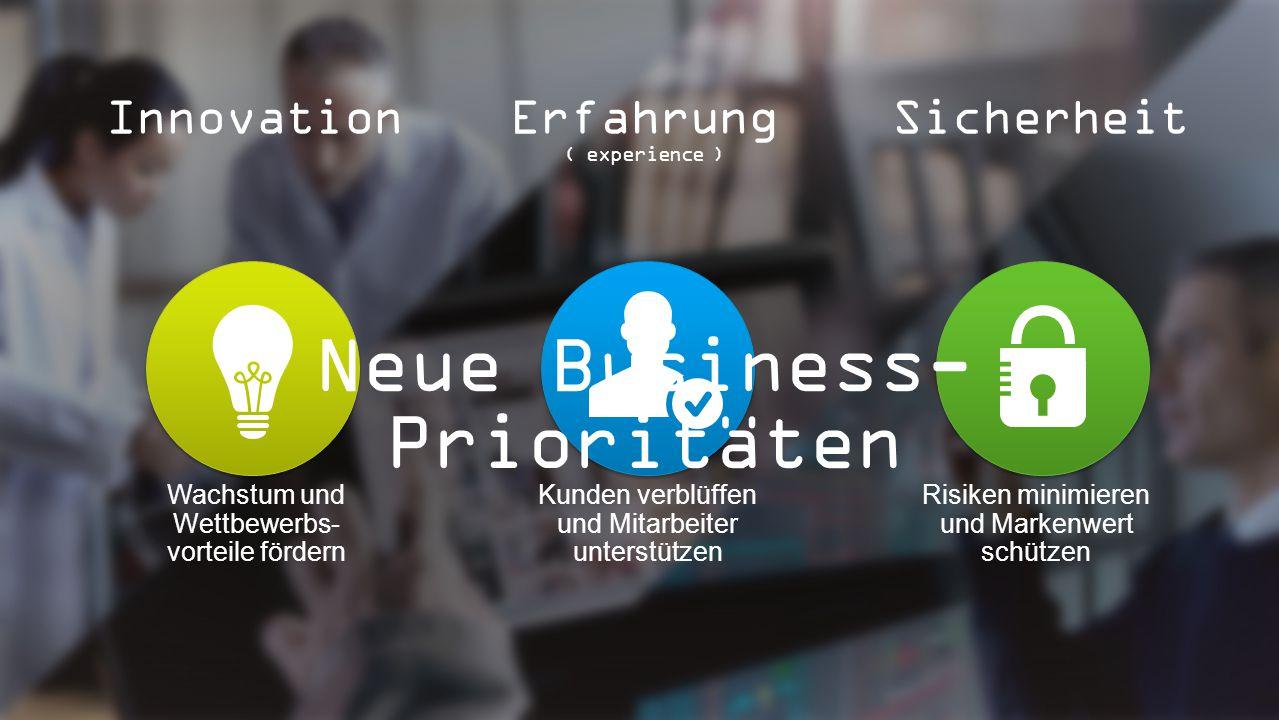 Wachstum und Wettbewerbs- vorteile fördern Kunden verblüffen und Mitarbeiter unterstützen Risiken minimieren und Markenwert schützen InnovationErfahrung ( experience ) Sicherheit Neue Business- Prioritäten