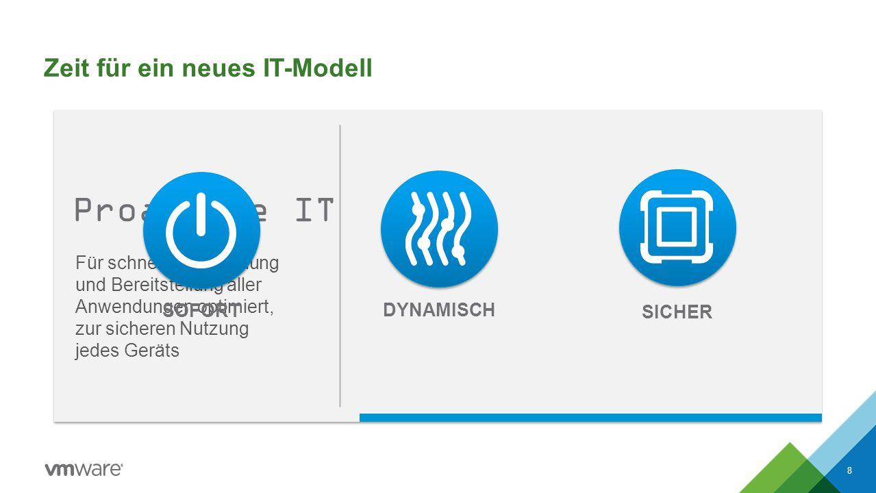 Zeit für ein neues IT-Modell 8 Für schnelle Entwicklung und Bereitstellung aller Anwendungen optimiert, zur sicheren Nutzung jedes Geräts DYNAMISCH SOFORT SICHER Proaktive IT
