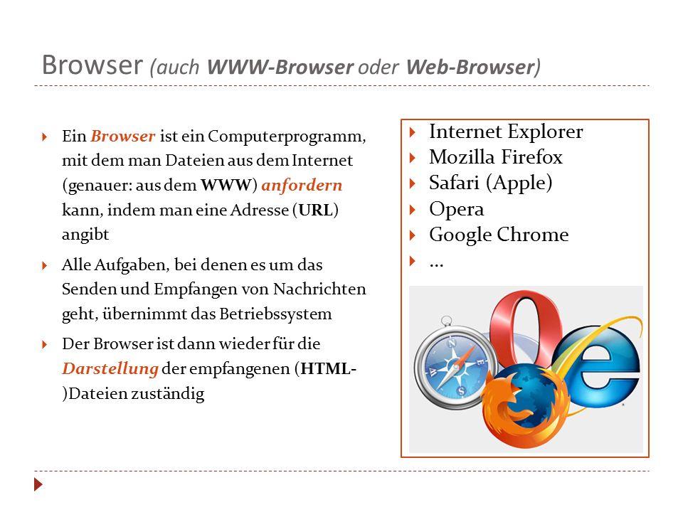 Browser (auch WWW-Browser oder Web-Browser)  Ein Browser ist ein Computerprogramm, mit dem man Dateien aus dem Internet (genauer: aus dem WWW) anford