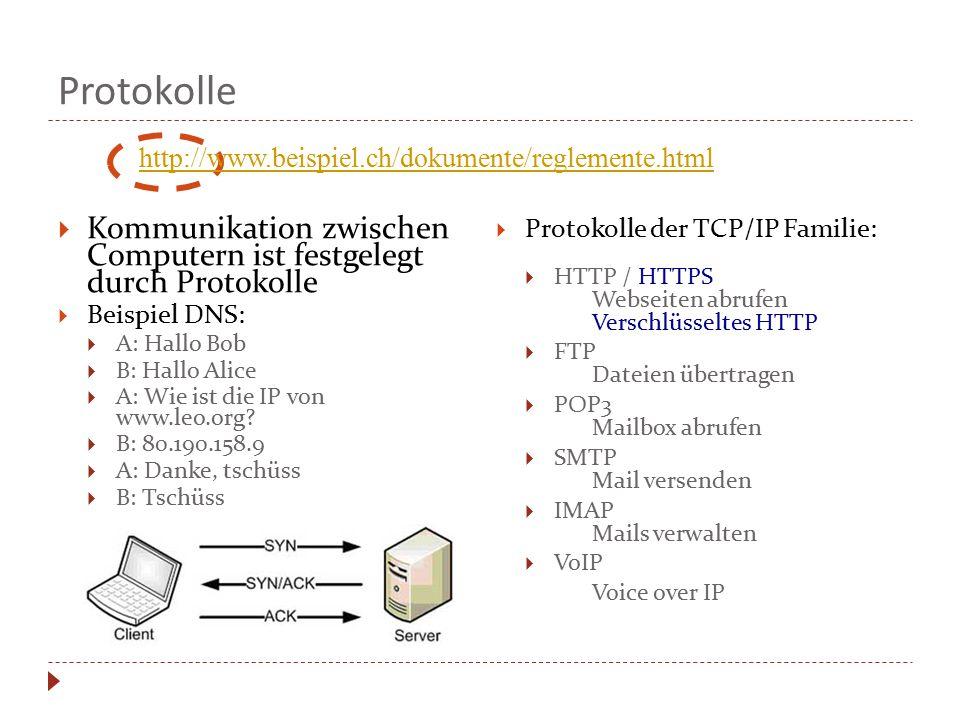 Protokolle  Kommunikation zwischen Computern ist festgelegt durch Protokolle  Beispiel DNS:  A: Hallo Bob  B: Hallo Alice  A: Wie ist die IP von