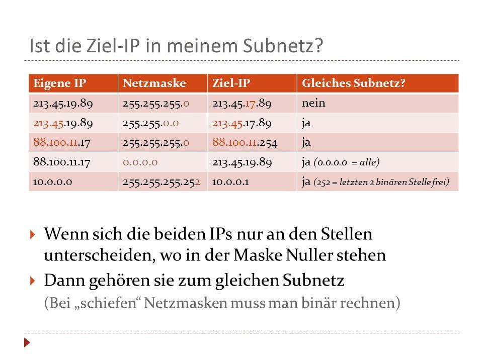 Ist die Ziel-IP in meinem Subnetz?  Wenn sich die beiden IPs nur an den Stellen unterscheiden, wo in der Maske Nuller stehen  Dann gehören sie zum g