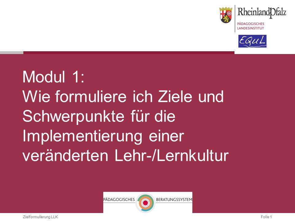 Folie 12Zielformulierung LLK ZIELE FORMULIEREN - KRITERIEN ZUORDNEN Unterricht Klassenmanagement...