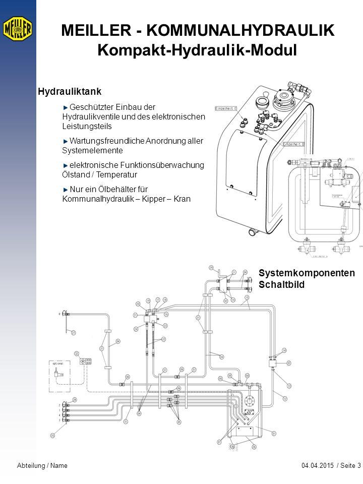 04.04.2015 / Seite 3Abteilung / Name MEILLER - KOMMUNALHYDRAULIK Kompakt-Hydraulik-Modul Hydrauliktank Geschützter Einbau der Hydraulikventile und des