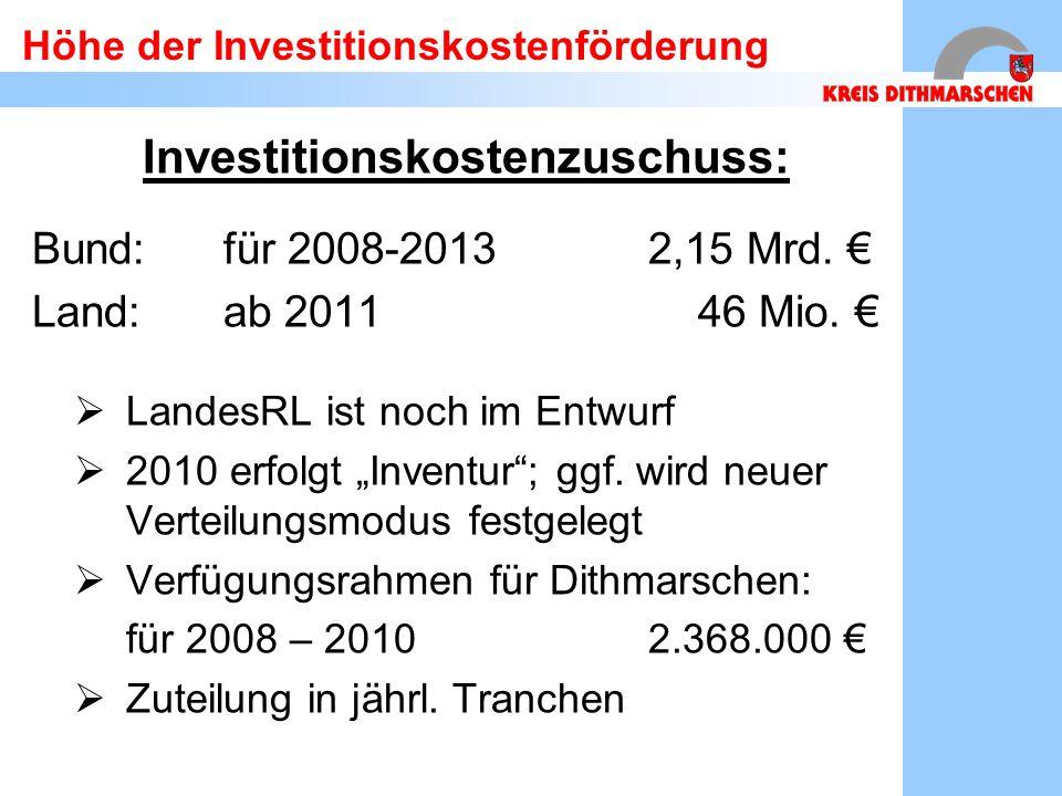 Höhe der Investitionskostenförderung Investitionskostenzuschuss: Bund:für 2008-20132,15 Mrd. € Land: ab 2011 46 Mio. €  LandesRL ist noch im Entwurf