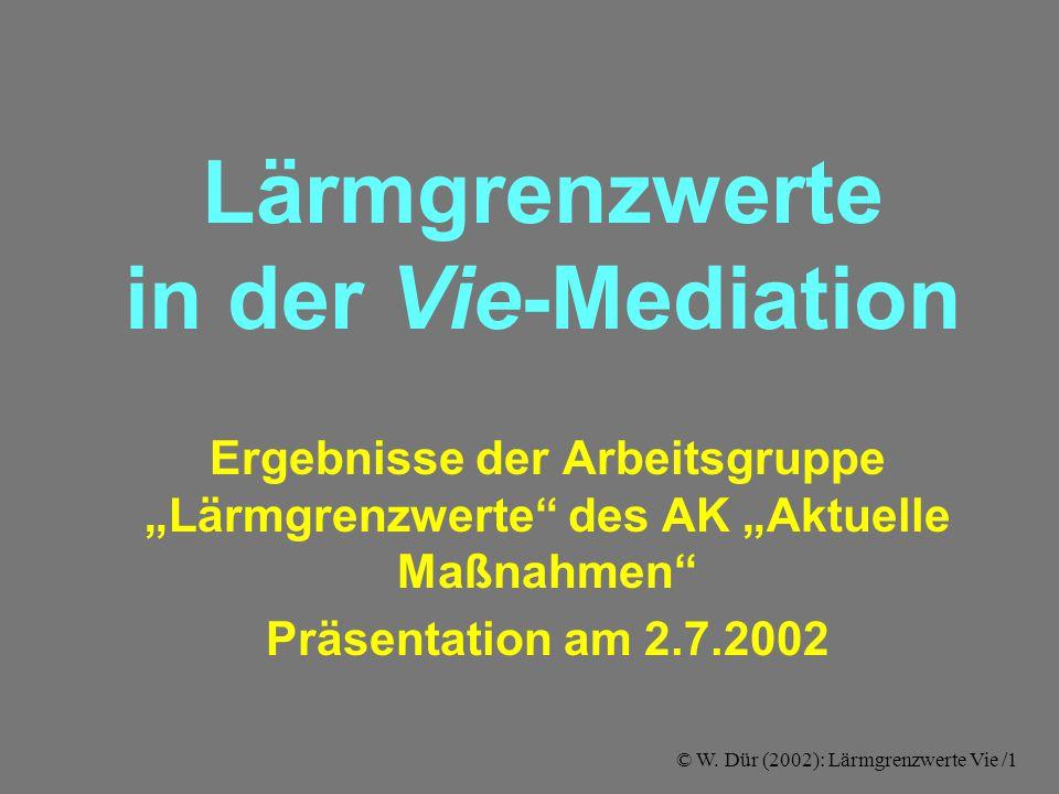 """© W. Dür (2002): Lärmgrenzwerte Vie /1 Lärmgrenzwerte in der Vie-Mediation Ergebnisse der Arbeitsgruppe """"Lärmgrenzwerte"""" des AK """"Aktuelle Maßnahmen"""" P"""