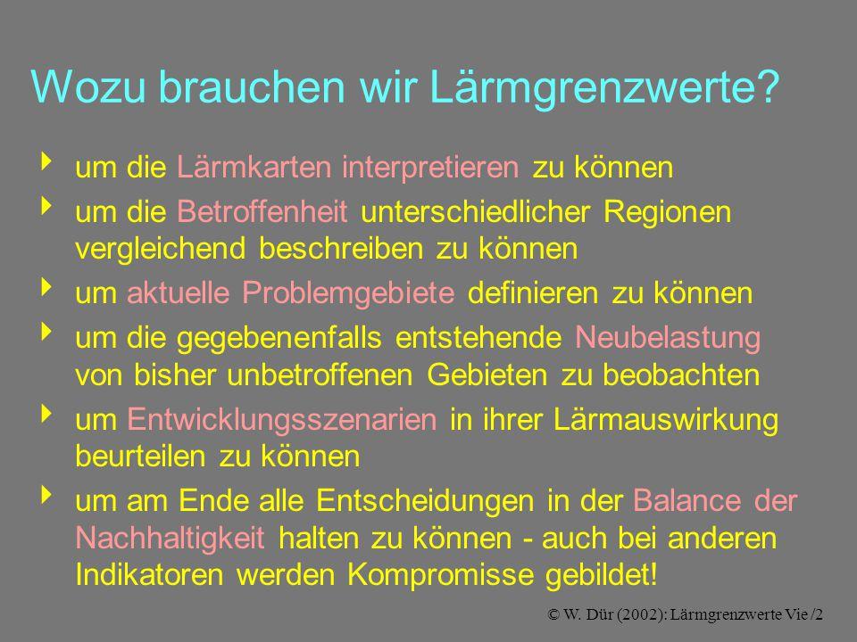© W. Dür (2002): Lärmgrenzwerte Vie /2 Wozu brauchen wir Lärmgrenzwerte.