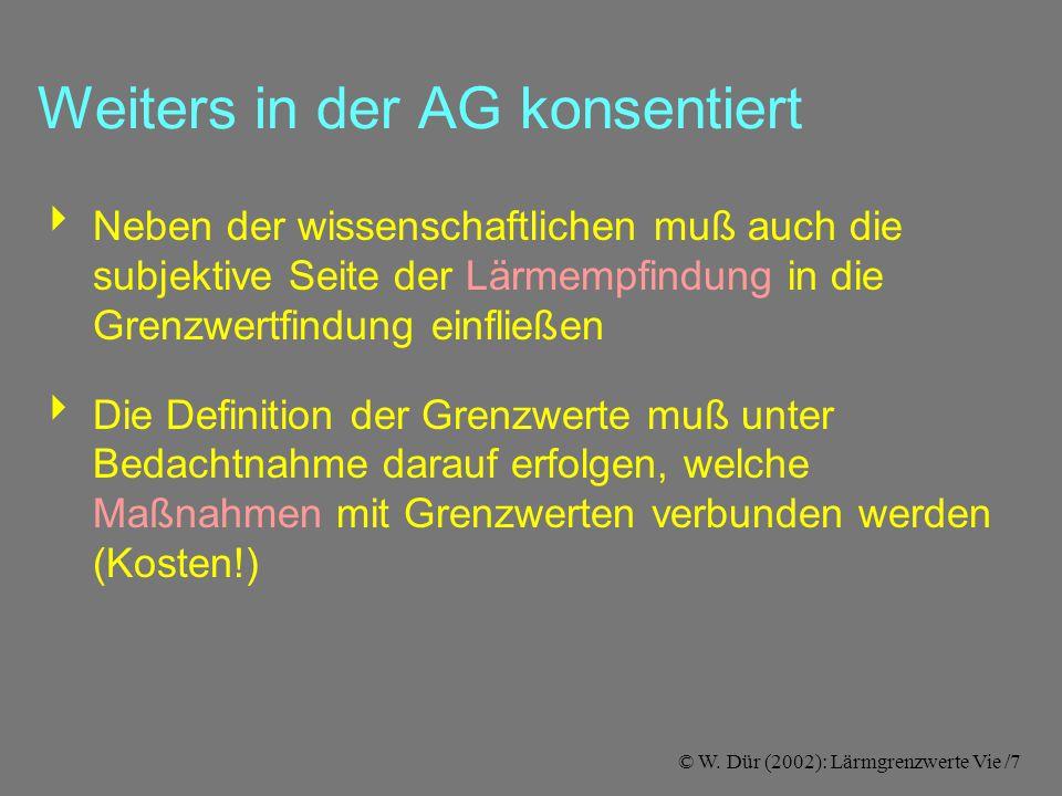 © W. Dür (2002): Lärmgrenzwerte Vie /7 Weiters in der AG konsentiert  Neben der wissenschaftlichen muß auch die subjektive Seite der Lärmempfindung i