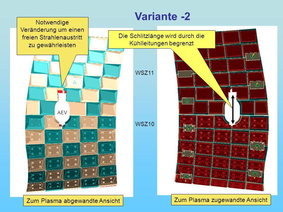 WSZ11 WSZ10 AEV Variante -2 Notwendige Veränderung um einen freien Strahlenaustritt zu gewährleisten Zum Plasma abgewandte Ansicht Zum Plasma zugewandte Ansicht Die Schlitzlänge wird durch die Kühlleitungen begrenzt