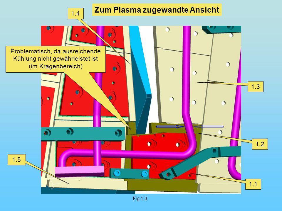Fig.1.3 1.1 1.2 1.3 1.4 1.5 Zum Plasma zugewandte Ansicht Problematisch, da ausreichende Kühlung nicht gewährleistet ist (im Kragenbereich)