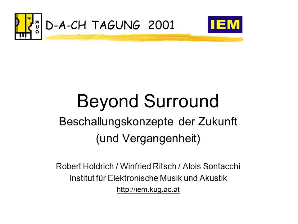 D-A-CH TAGUNG 2001 Beyond Surround Beschallungskonzepte der Zukunft (und Vergangenheit) Robert Höldrich / Winfried Ritsch / Alois Sontacchi Institut für Elektronische Musik und Akustik http://iem.kug.ac.at